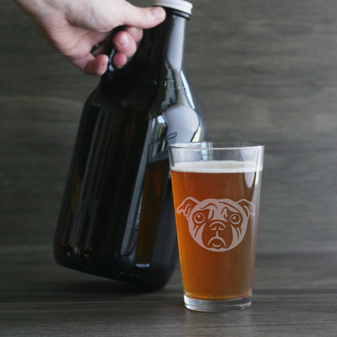 Pug beer pint glass by Bread and Badger