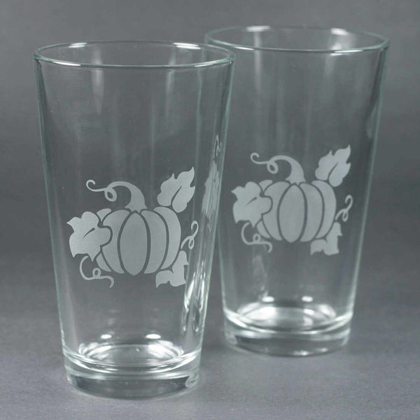 pumpkin beer pint glass by Bread and Badger