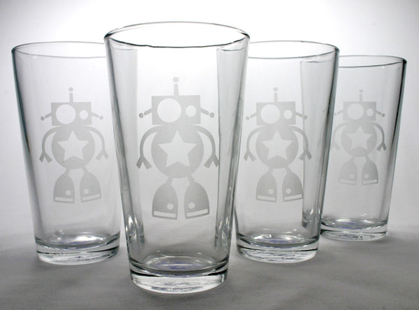 robot pint beer glasses