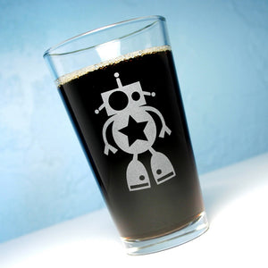 robot etched pint glass