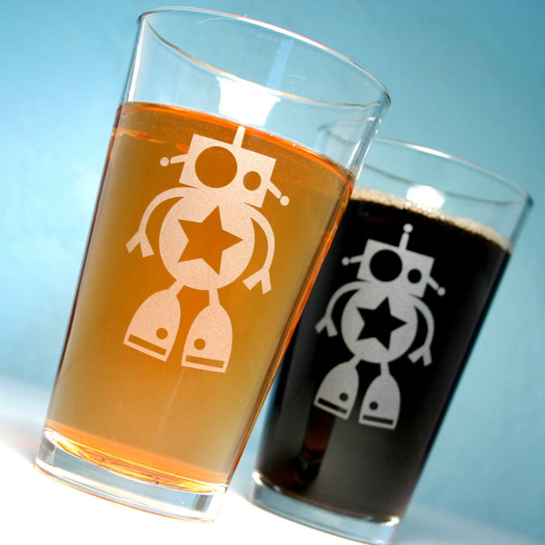 cute robot pint glasses