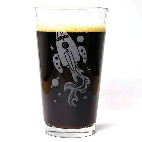 Rocket Ship Pint Glass