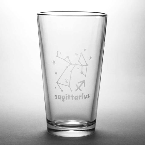 Sagittarius constellation pint glass by Bread and Badger