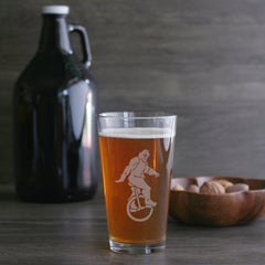 Sasquatch bigfoot pint glass by Bread and Badger