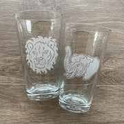 Lion and Elephant pint glasses by Bread and Badger