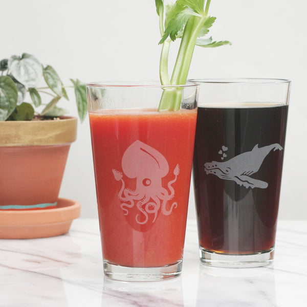 Squid and Humpback Whale pint glasses by Bread and Badger
