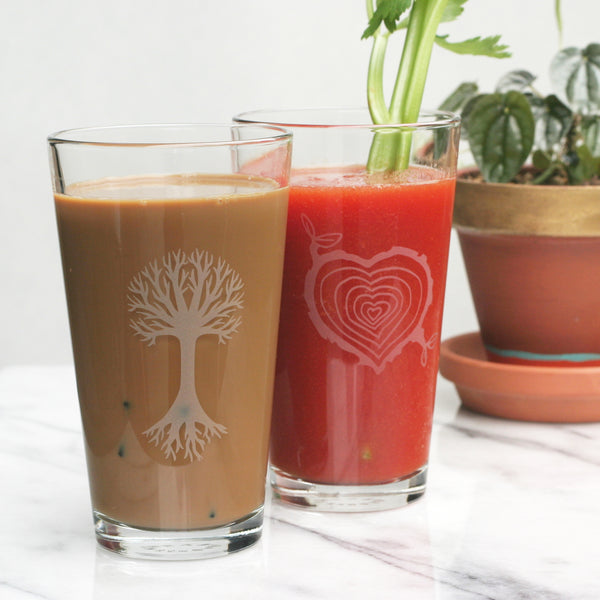 Tree and Tree Stump Heart pint glasses