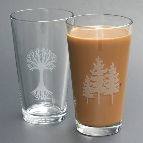 Tree and Family of 3 Trees pint glasses