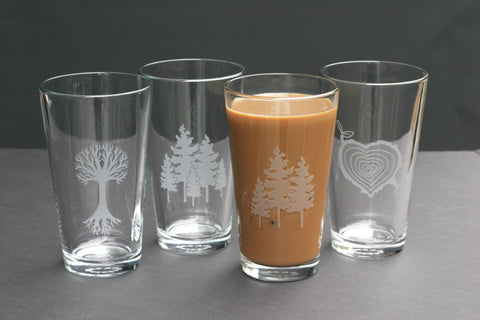 Tree pint glasses by Bread and Badger