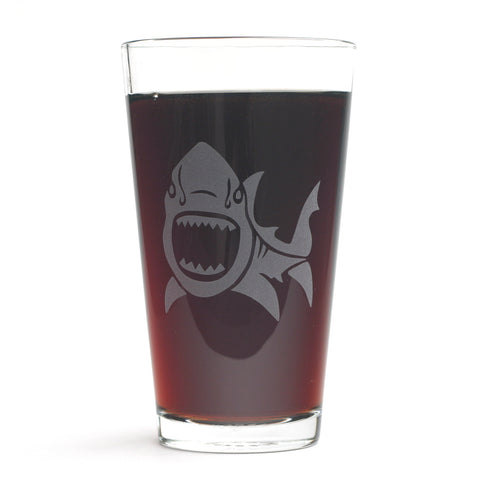 Shark pint glass by Bread and Badger