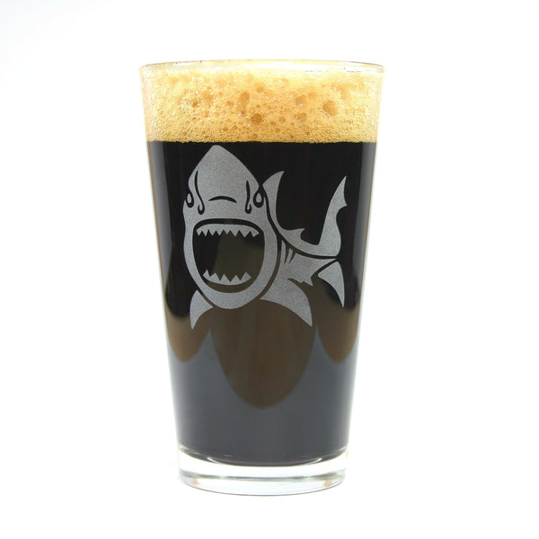 shark etched beer glass