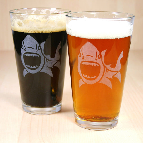 shark etched pint glasses