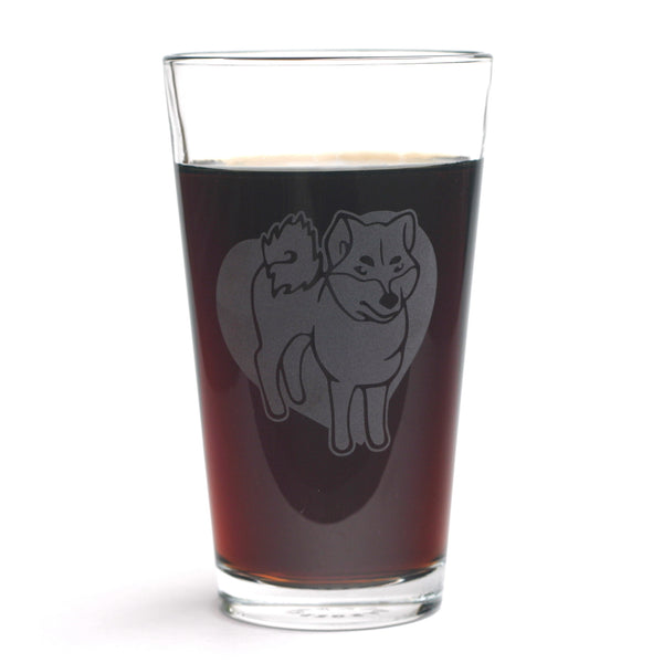 Shiba Inu pint glass by Bread and Badger