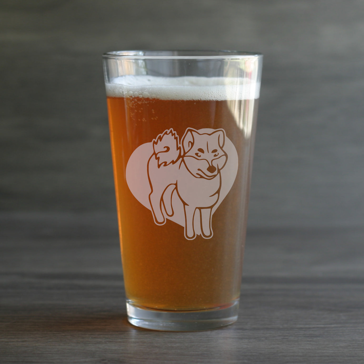 Shiba Akita dog pint glass by Bread and Badger