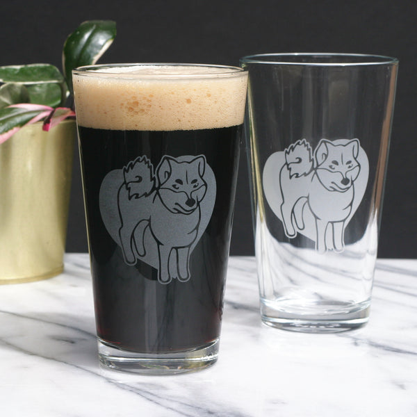 Akita dog pint glasses by Bread and Badger