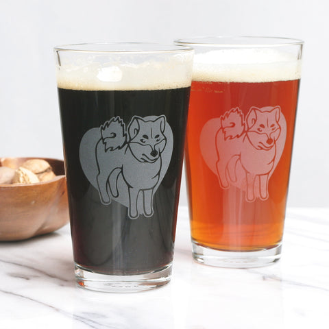 Shiba dog pint glass by Bread and Badger