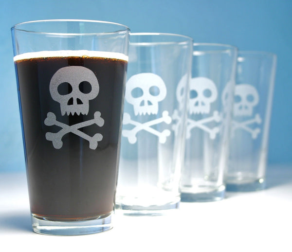 skull and crossbones pint glasses set of 4