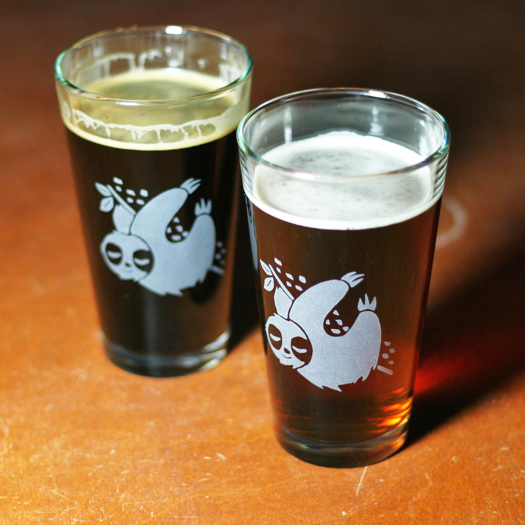 Sloth Pint Glass Bread And Badger Gifts