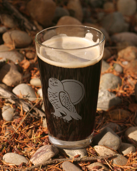 Snowy Owl bird pint glass by Bread and Badger