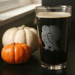 Snowy Owl pint glass by Bread and Badger
