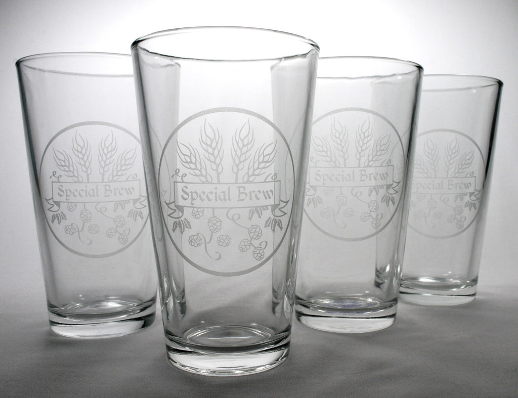 4 homebrewing beer pint glasses