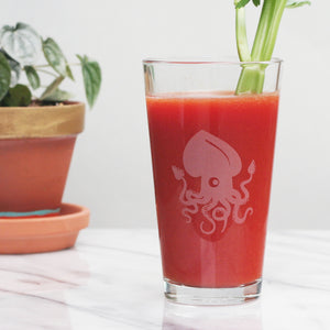 Squid pint glass by Bread and Badger