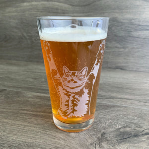 Stretch Cat pint glass by Bread and Badger