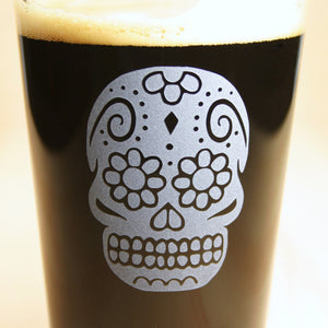 Day of the Dead Skull Pint Glass