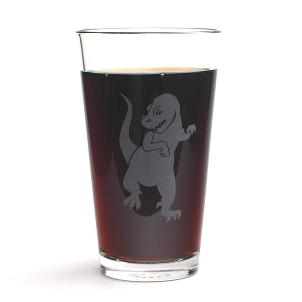 T-Rex pint glass by Bread and Badger