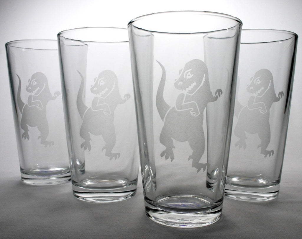T-rex dinosaur pint glasses set