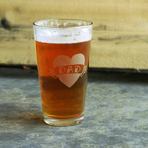 tattoo heart DAD pint glass