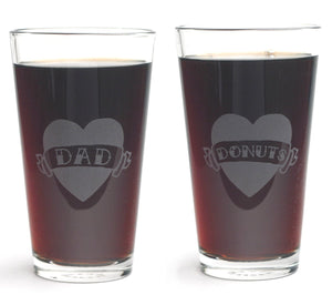 Tattoo Heart Pint Glasses with DAD or DONUTS