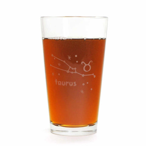 Taurus constellation pint glass by Bread and Badger
