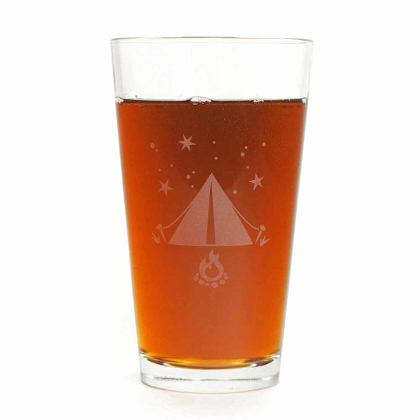 Tent camping beer glass by Bread and Badger