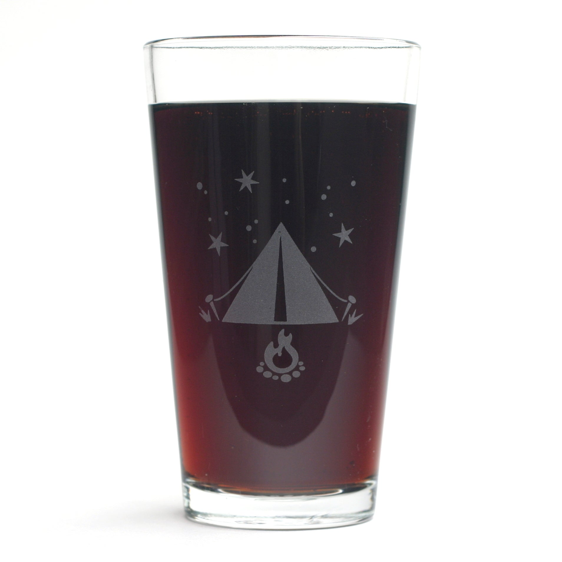 Tent camping pint glass by Bread and Badger
