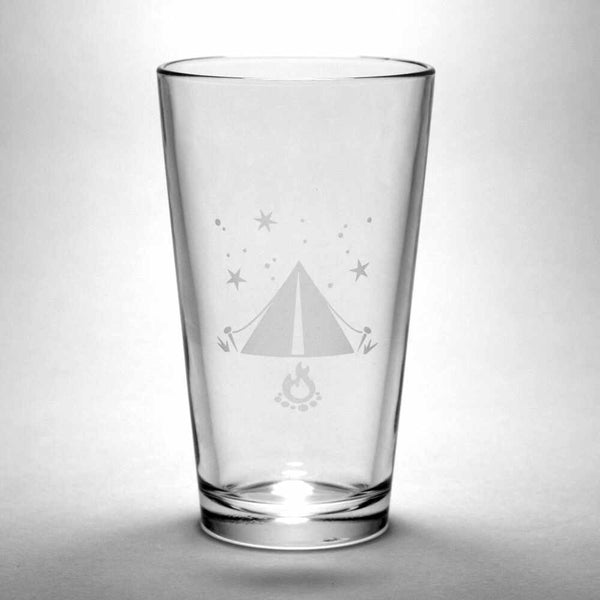 Tent camping etched glass by Bread and Badger