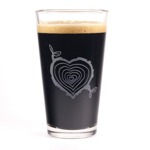 Tree Stump Heart Pint Glass