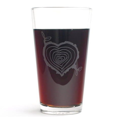 Tree Stump Heart pint glass by Bread and Badger