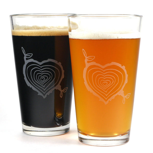 romantic tree ring heart pint glasses