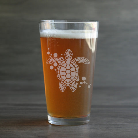 Sea Turtle pint glass by Bread and Badger