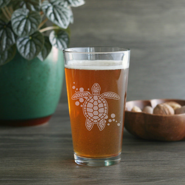 Sea Turtle etched beer glass by Bread and Badger