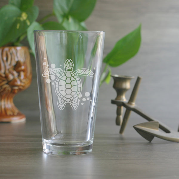 Sea Turtle nautical pint glass by Bread and Badger