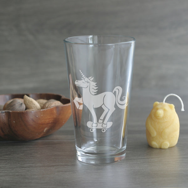 Unicorn etched beer glass by Bread and Badger