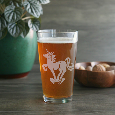 Unicorn etched pint glass by Bread and Badger