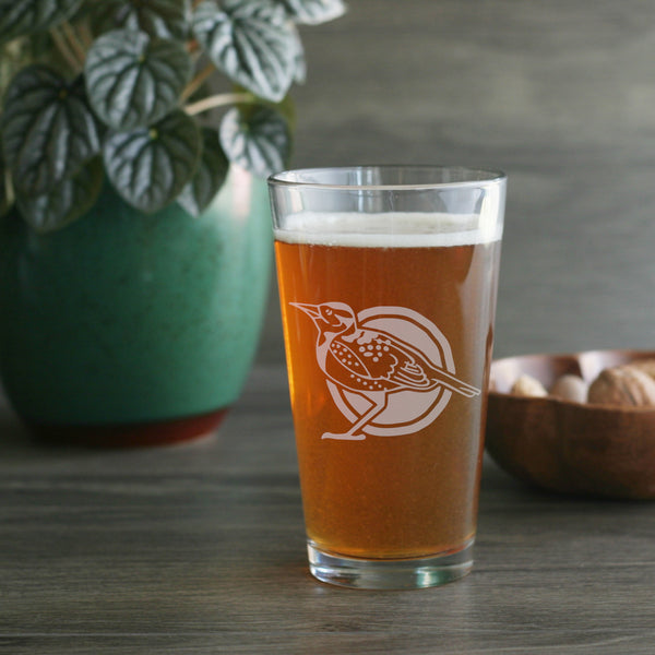 Western Meadowlark birder pint glass by Bread and Badger