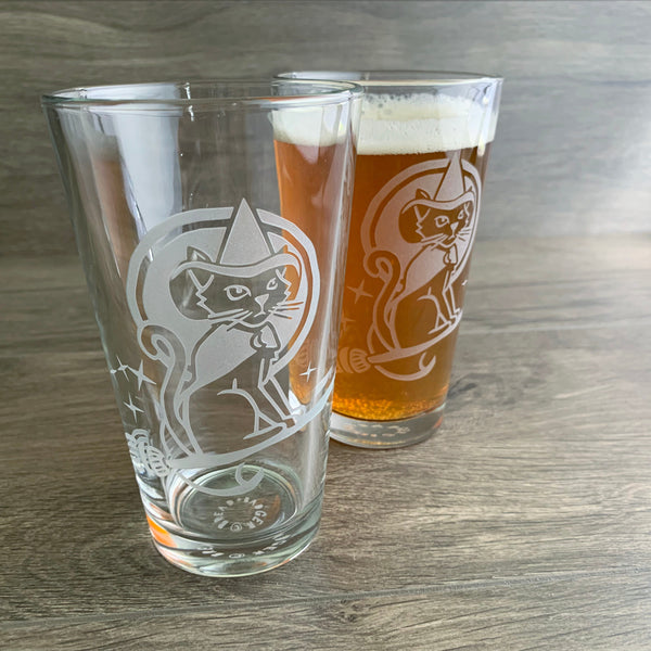 Witch Cat engraved pint glasses by Bread and Badger