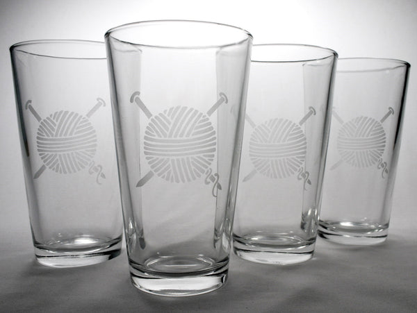 knitting yarn pint glassware