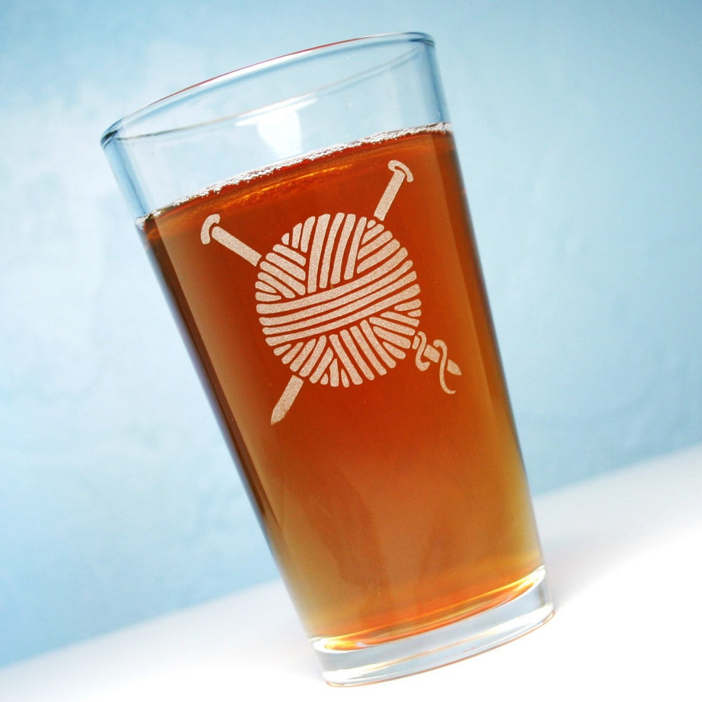 yarn etched beer glasses