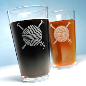 yarn pint glasses for knitters