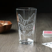 Glasses Cat Beer Pint Glass - etched glassware
